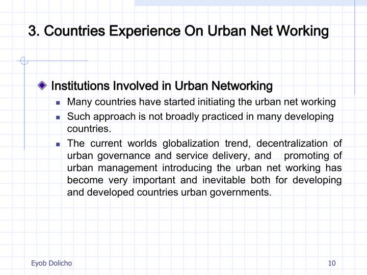3. Countries Experience On Urban Net Working