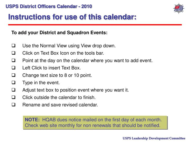 Instructions for use of this calendar