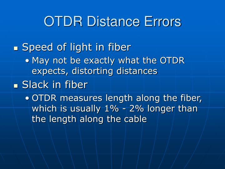 OTDR Distance Errors