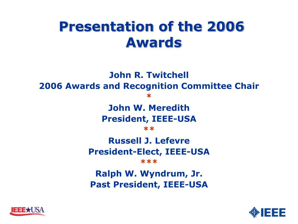 presentation of the 2006 awards l.