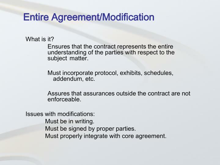 Entire Agreement/Modification