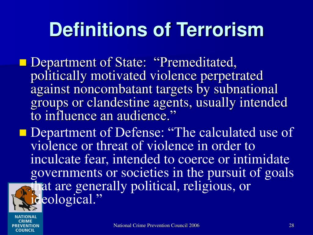 the definition of terrorism