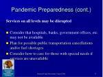 pandemic preparedness cont