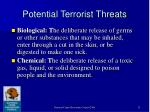 potential terrorist threats