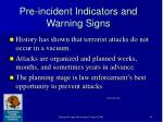 pre incident indicators and warning signs