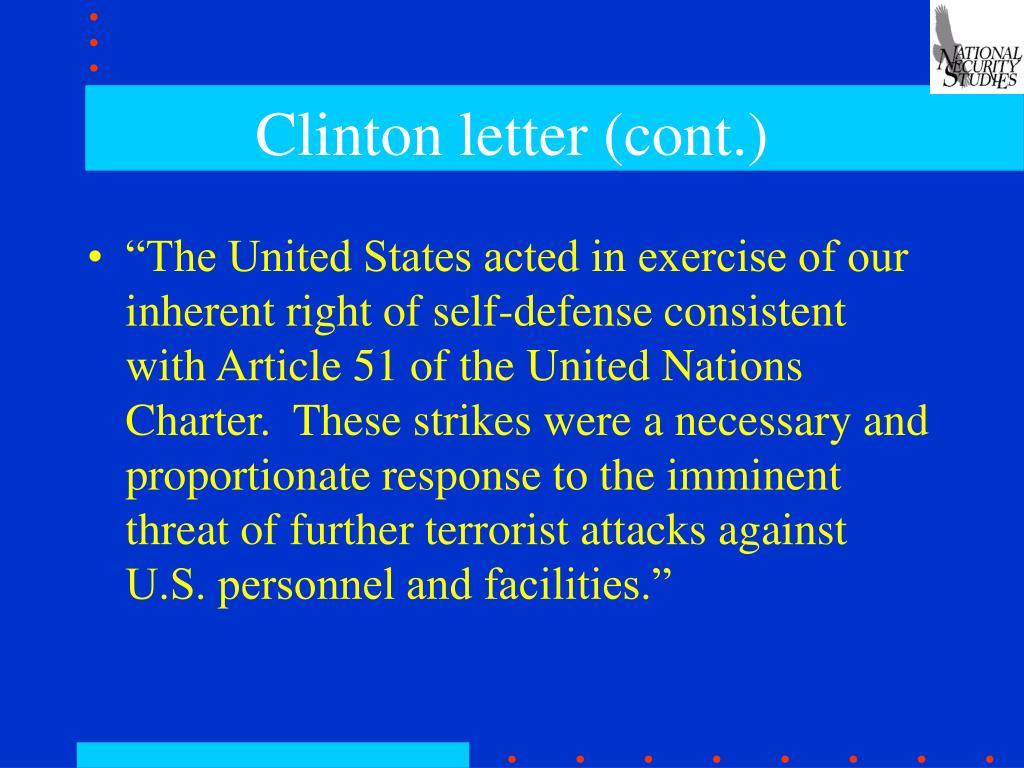 Clinton letter (cont.)