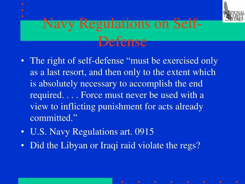 Navy Regulations on Self-Defense