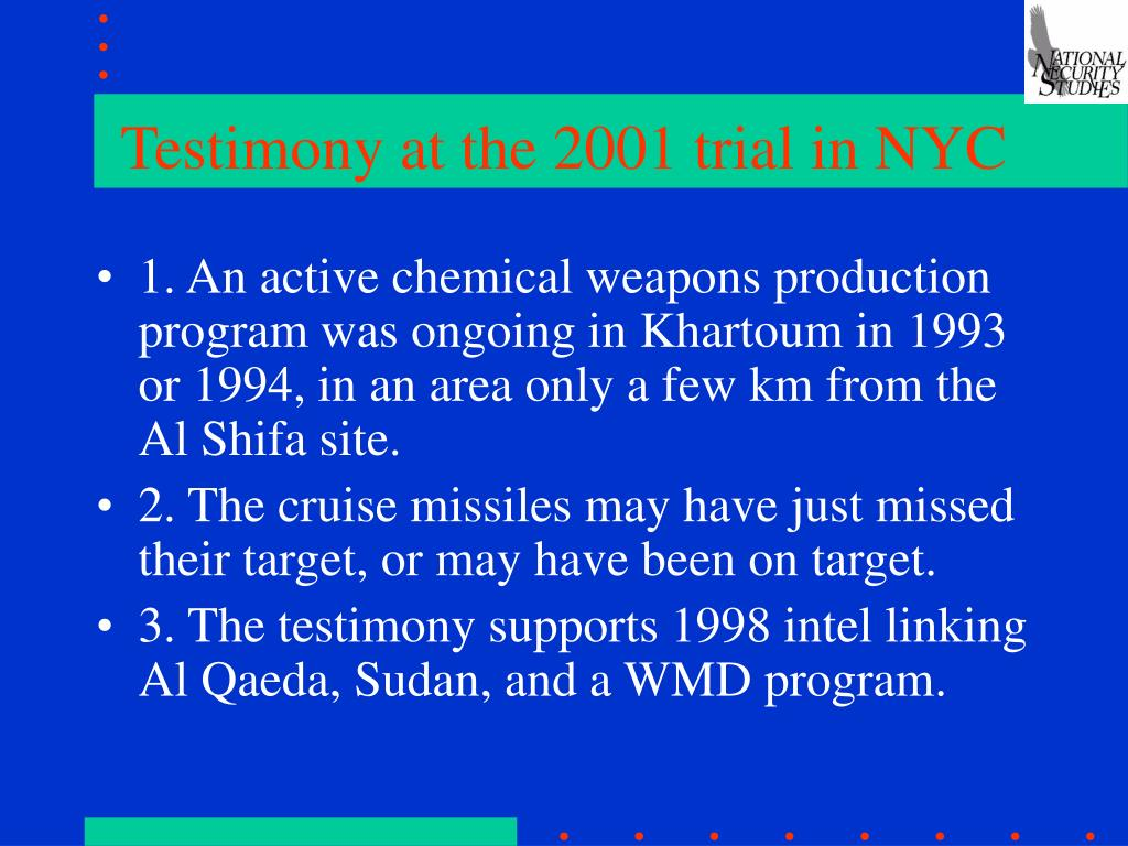 Testimony at the 2001 trial in NYC
