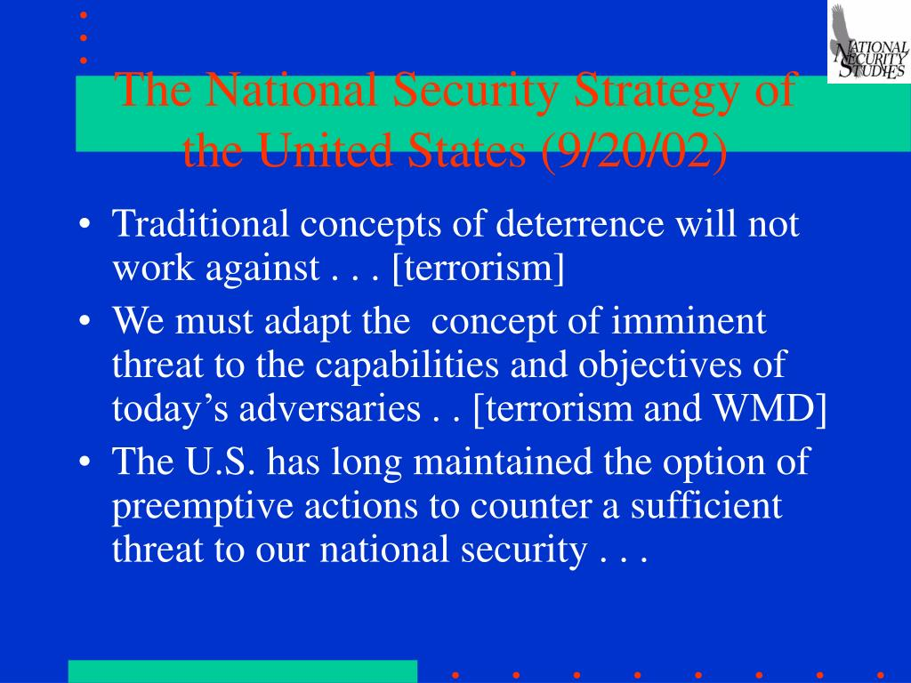 The National Security Strategy of the United States (9/20/02)