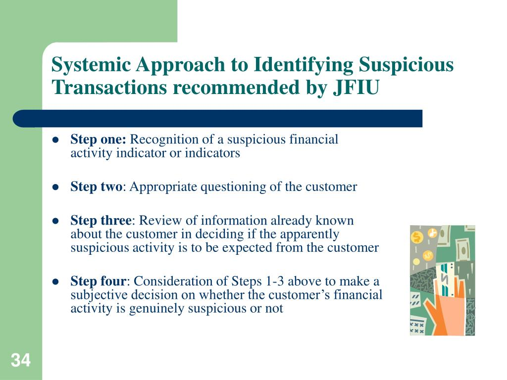Systemic Approach to Identifying Suspicious Transactions recommended by JFIU