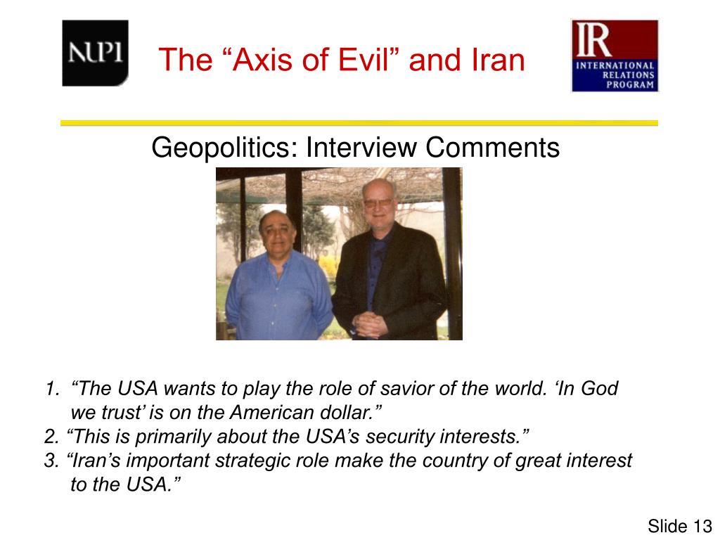 Geopolitics: Interview Comments