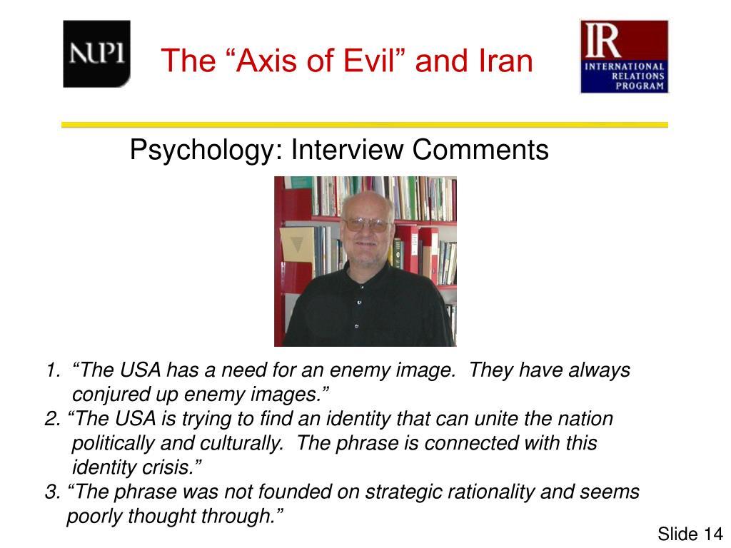 Psychology: Interview Comments