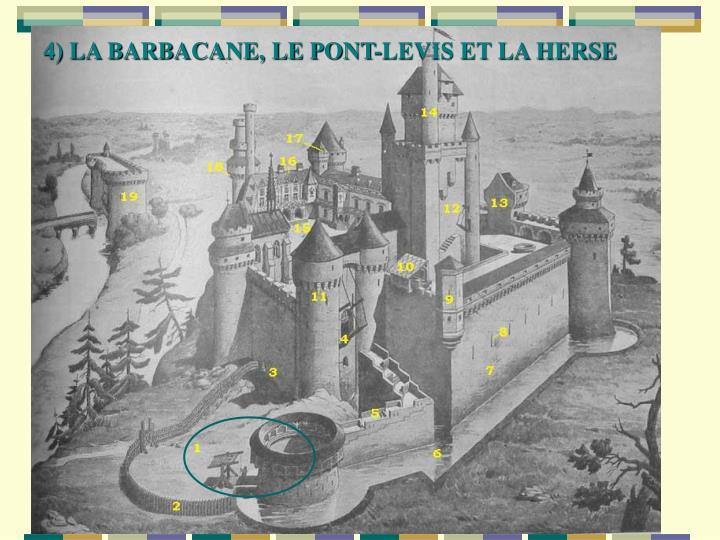 4) LA BARBACANE, LE PONT-LEVIS ET LA HERSE
