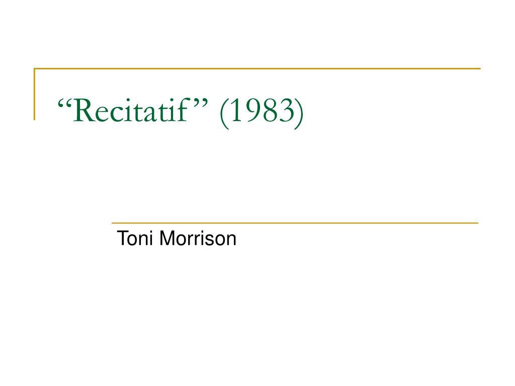 toni morrison short story recitatif