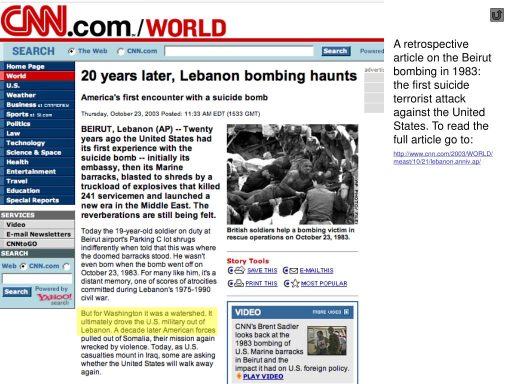 A retrospective article on the Beirut bombing in 1983: the first suicide terrorist attack against the United States. To read the full article go to: