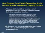 how prepared local health responders are for terrorist attacks has been an ongoing concern