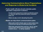 improving communications about preparedness and response to bioterrorist incidents