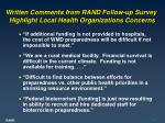 written comments from rand follow up survey highlight local health organizations concerns