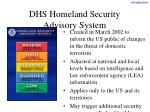 dhs homeland security advisory system