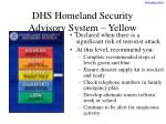 dhs homeland security advisory system yellow