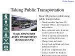 taking public transportation