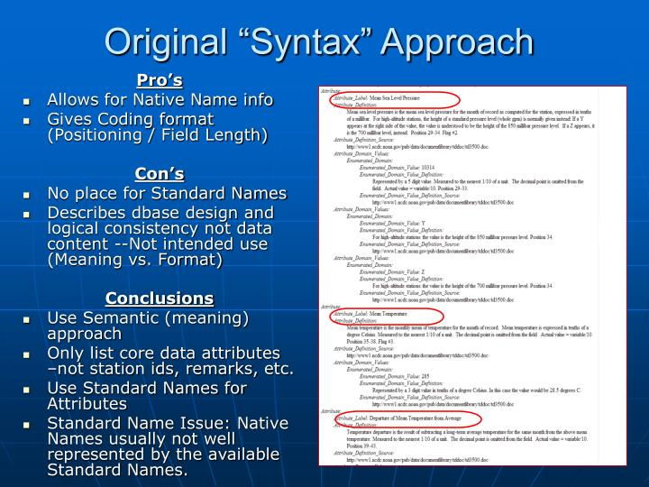 "Original ""Syntax"" Approach"