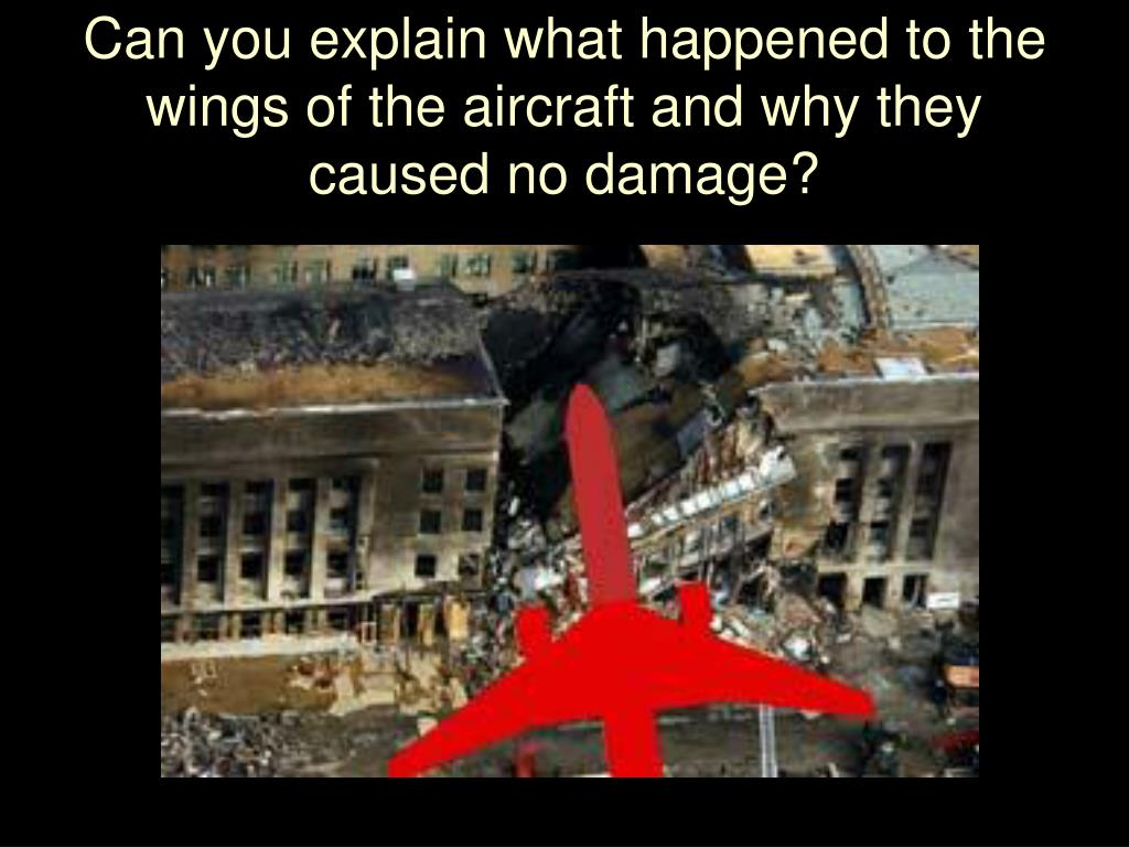 Can you explain what happened to the wings of the aircraft and why they caused no damage?