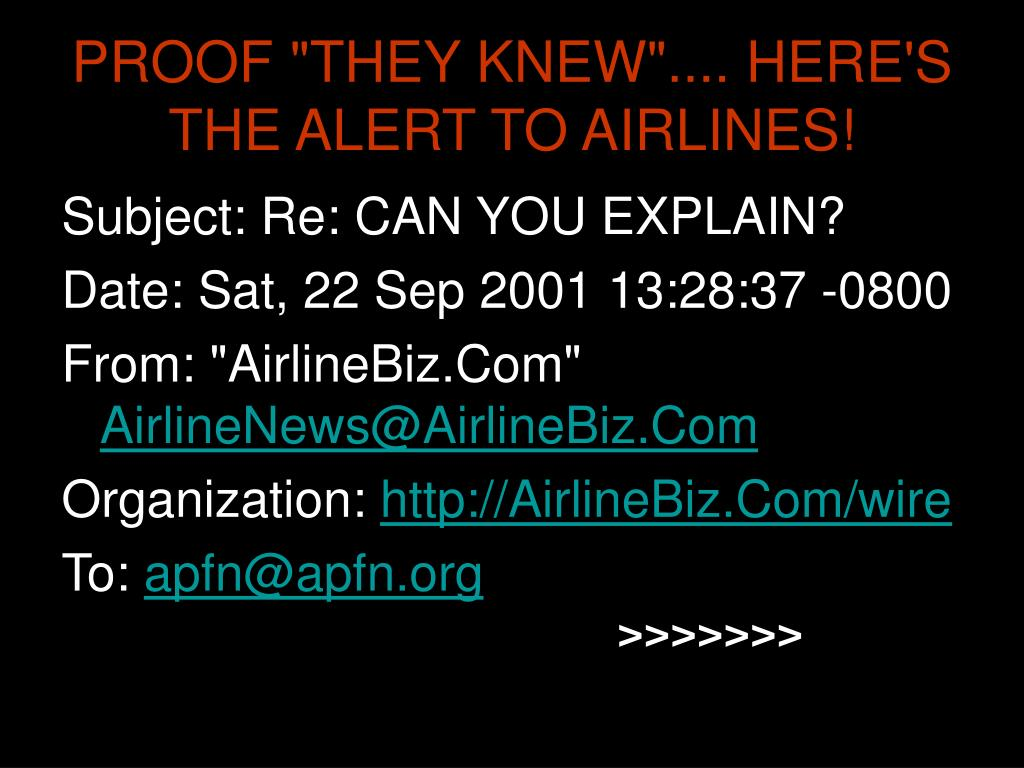 """PROOF """"THEY KNEW"""".... HERE'S THE ALERT TO AIRLINES!"""