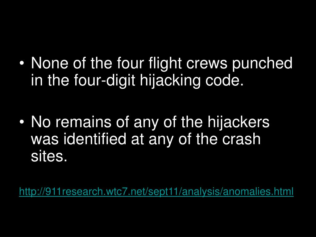 None of the four flight crews punched in the four-digit hijacking code.