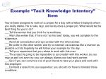 example tacit knowledge intentory item