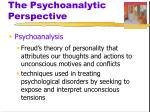 the psychoanalytic perspective1