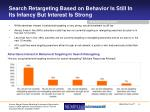 search retargeting based on behavior is still in its infancy but interest is strong