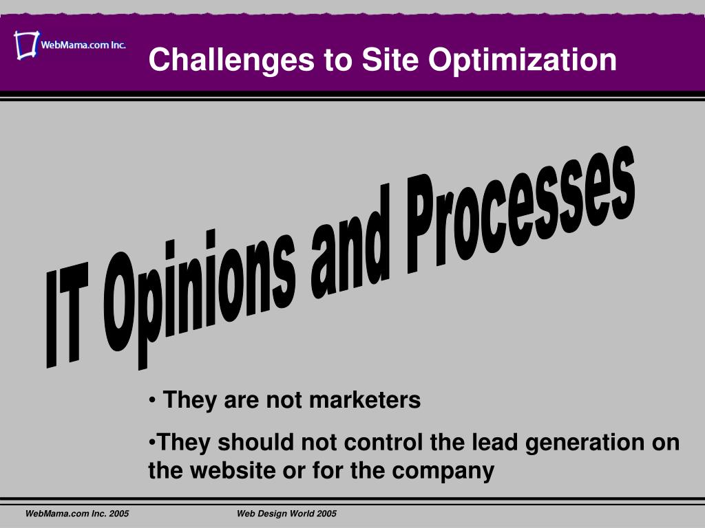 Challenges to Site Optimization