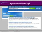 organic natural listings