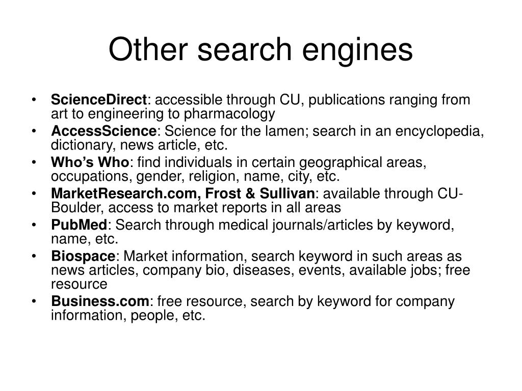 Other search engines