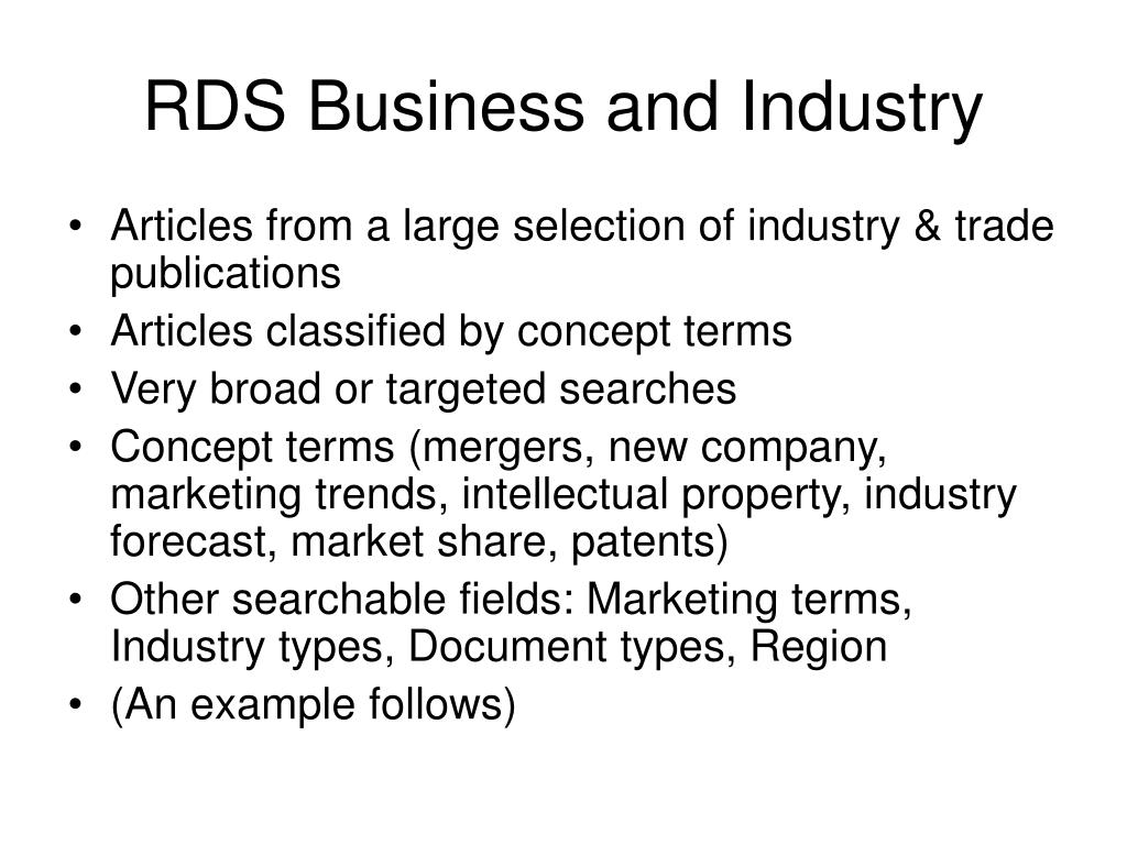 RDS Business and Industry