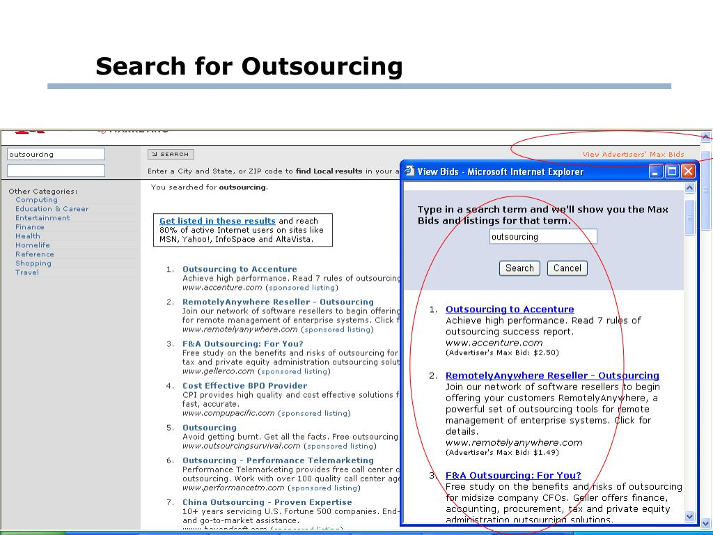 Search for Outsourcing