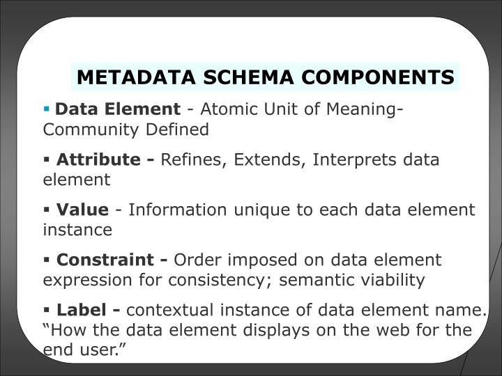 METADATA SCHEMA COMPONENTS