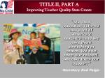 title ii part a improving teacher quality state grants