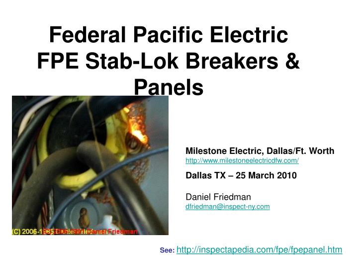 PPT - Federal Pacific Electric FPE Stab-Lok Breakers ... Federal Pacific Stab Lok Electrical Panels on