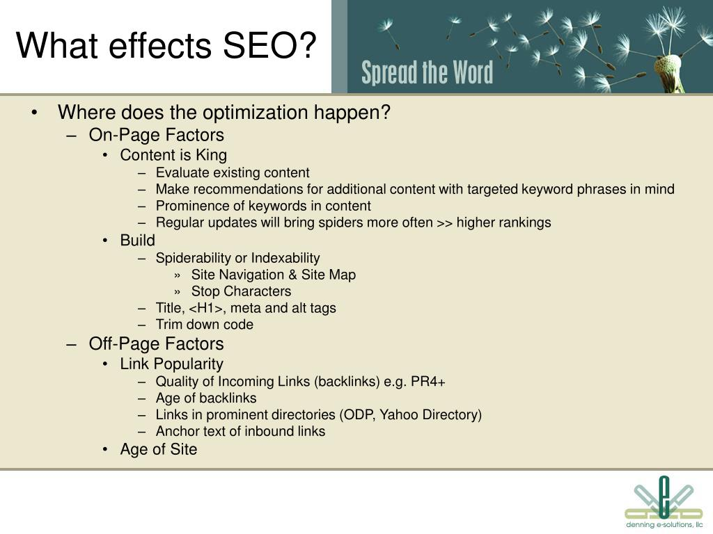 What effects SEO?
