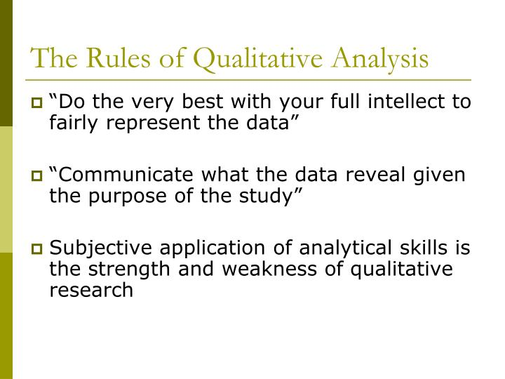 The rules of qualitative analysis