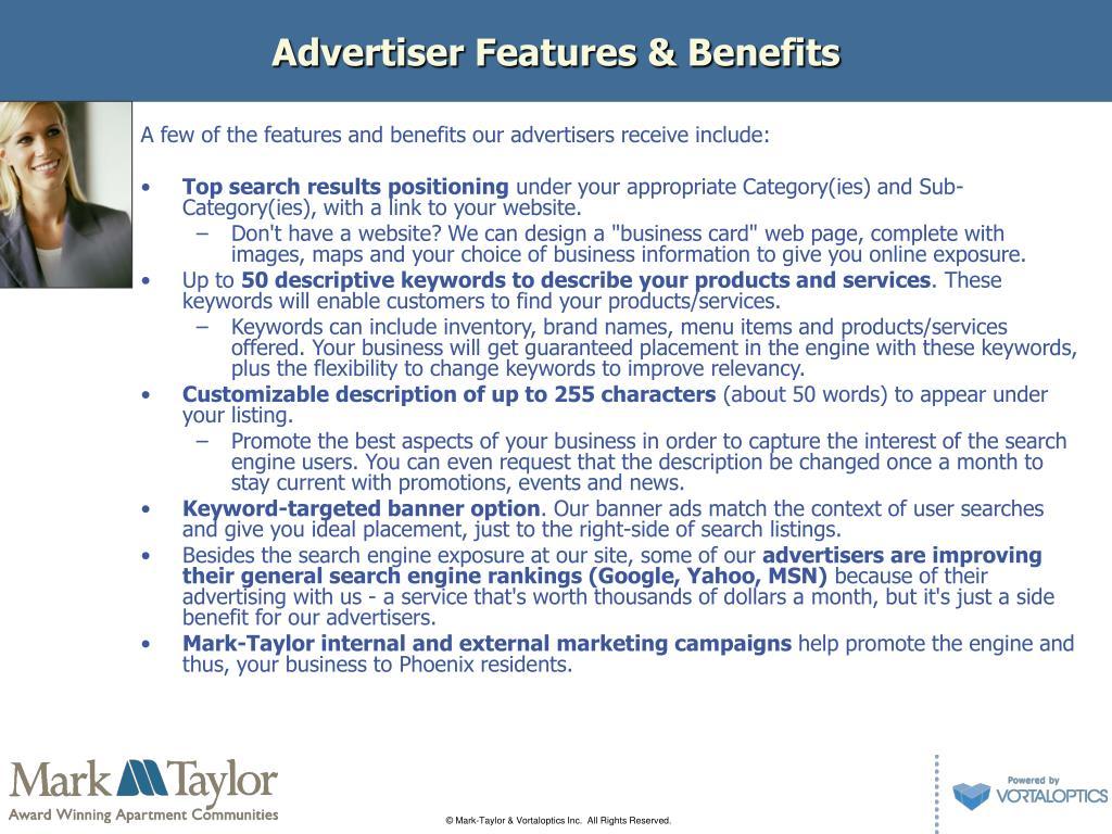 Advertiser Features & Benefits
