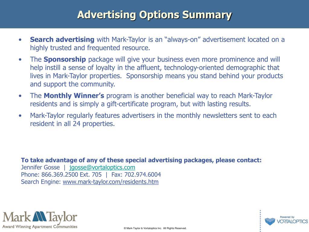 Advertising Options Summary