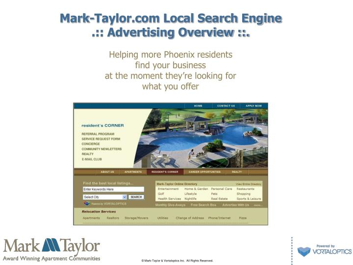 Mark taylor com local search engine advertising overview