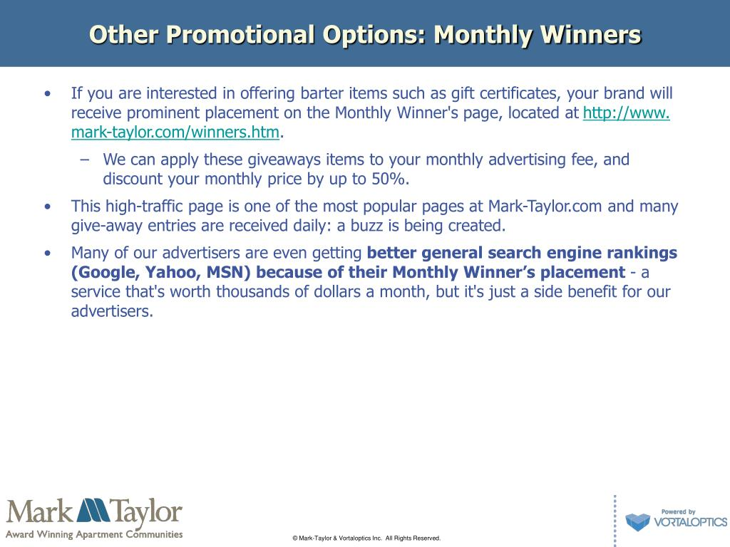 Other Promotional Options: Monthly Winners