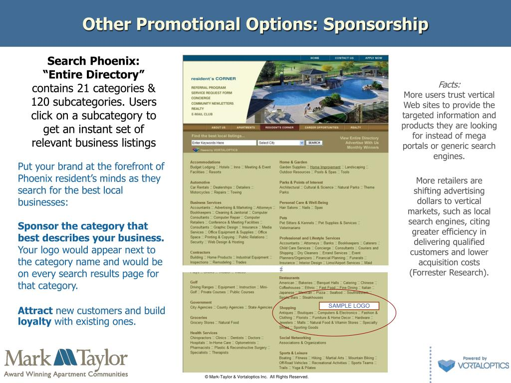 Other Promotional Options: Sponsorship