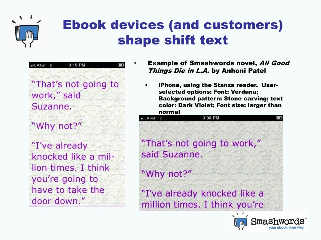 Ebook devices (and customers) shape shift text