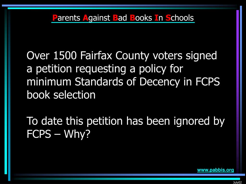 Over 1500 Fairfax County voters signed a petition requesting a policy for minimum Standards of Decency in FCPS book selection