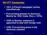 16 17 th centuries
